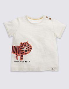 Pure Cotton Tiger Graphic Print T-Shirt | M&S