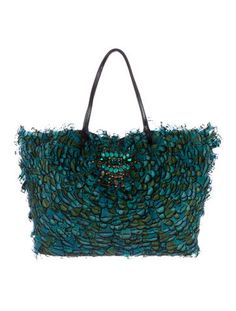 Valentino Embellished Feather & Snakeskin Tote w/ Tags
