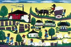 Life on a plantation painted with love and memory by Clementine Hunter. Incredible detail that includes harvesting pecans. http://www.forestheights.ebrschools.org/laurenhaddox