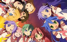 Download wallpapers Lucky Star, Japanese anime, manga, television series, Kagami Hiiragi, Konata Izumi, Miyuki Takara, Tsukasa Hiiragi