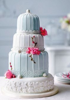 birdcage wedding cake, baby blue with fushia flowers - perfect for a spring summer wedding or even a very special birthday cake