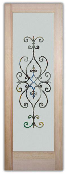 Frosted Etched Glass Door Monogram Scroll Design Sans