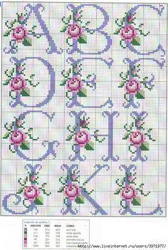 So pretty ~ cross stitch monogram alphabet with roses. - - So pretty ~ cross stitch monogram alphabet with roses. Cross Stitch Alphabet Patterns, Cross Stitch Letters, Cross Stitch Rose, Cross Stitch Flowers, Cross Stitch Charts, Cross Stitch Designs, Stitch Patterns, Bead Patterns, Hand Embroidery Flowers