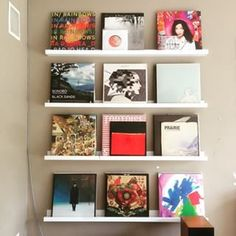 if you want to show off your vinyl art? Try turning your collection outward on a series of shelves. What if you want to show off your vinyl art? Try turning your collection outward on a series of shelves. Vinyl Record Display, Vinyl Record Storage, Record Wall, Display Wall, Vinyl Records Decor, Record Decor, Vynil Records, Framed Records, Vinyl Decor