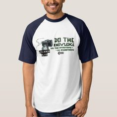 blue sporty navy Do the Knowledge print T-shirt - sporty outfits fitness sports health