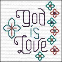 God is Love Quick Stitch Mini Quick Stitch Promises - Small Inspirational Cross Stitch Designs Mini Cross Stitch, Cross Stitch Charts, Cross Stitch Designs, Cross Stitch Embroidery, Easy Patterns, Faith Hope Love, Easy Gifts, Joyful, Hand Stitching