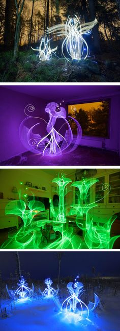 In-Camera Light Paintings by Hannu Huhtamo Sprout in the Darkness Like Alien Blooms Light Painting Photography, Dark Photography, Night Photography, Amazing Photography, Distortion Photography, Instalation Art, Colossal Art, Unusual Art, Light Installation
