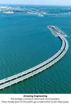 Puente que conecta Dinamarca y Suecia, parte transcurre bajo el agua para permitir el paso de los barcos, Dinamarca