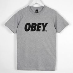 Obey Font Tee-Shirt, Heather Grey ($7.59) ❤ liked on Polyvore