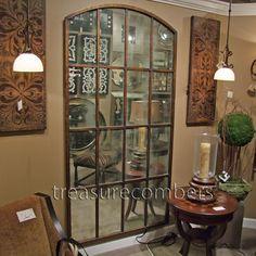 Huge Metal Floor Wall Mirror Amiel Large Arch Leaning Windowpane