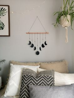 Black Silver and Copper Clay Moon Phases Wall Hanging. Copper Wall decor, Bohemian neutral nursery d Cute Room Decor, Boys Room Decor, Boy Room, Nursery Decor, Bedroom Decor, Design Bedroom, Copper Wall Decor, Decorating Your Home, Diy Home Decor