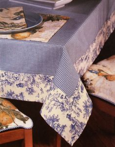 Sewing Crafts, Sewing Projects, Oblong Tablecloth, Tablecloth Ideas, Gingham Tablecloth, Gingham Fabric, Blue Fabric, Patchwork Fabric, Beige Background
