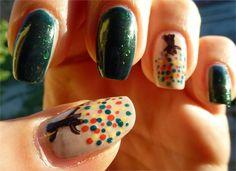 Autumn, Fall,  nail art, Mallard
