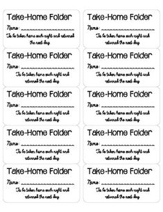Take Home Folder Labels  Folder Labels Students And Teacher Stuff