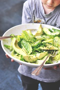 Avocado and Romaine Lettuce Salad with homemade dressing
