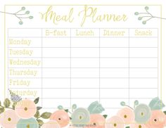 The Meal Planner is a handmade item designed in our Watercolor Floral Collection allowing you to track your weekly meal plan (step 3). Includes a place to track B-fast, Lunch, Dinner, and Snacks for each day of the week.​ 1 Meal Plan Tracker (digital printable)