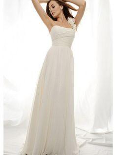 A-Line One-Shoulder Sweep Trailing Flowers Zipper Back Chiffon Beach Wedding Dresses