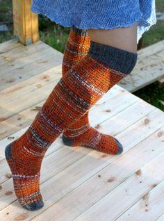 Ulla 01/13 - Ohjeet - Raitapolvarit Wool Socks, Knitting Socks, Hand Knitting, Rainbow Dog, Men In Heels, Yarn Inspiration, Boot Cuffs, Leg Warmers, Mittens
