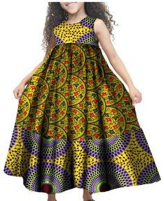 GAGA Little Girls African Print Casual A Line Cute Sleeveless Holiday Summer Dress