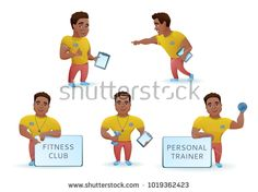 Personal fitness trainer set, african cartoon characters collection, sports man training, advertising gym in colorful outfit with bumbell, vector illustration