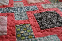 Close up of the quilting on BMQG Swap, from Smiles Too Loudly