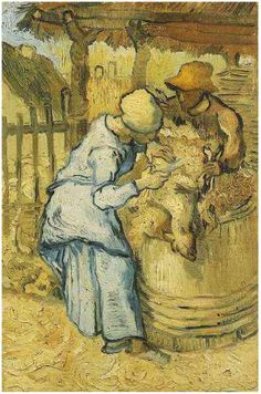 Vincent van Gogh:    The Sheep-Shearers, (after Millet) 1889