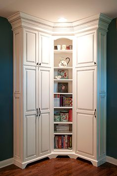New bathroom storage cabinet corner spaces ideas Corner Storage, Kitchen Storage, Tall Cabinet Storage, Bathroom Storage, Storage Shelves, Corner Cabinet Dining Room, Room Corner, Tall Corner Cabinet, Corner Cabinets