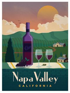 Travel Poster from IdeaStorm Napa Valley California #vintagetravelposters