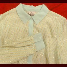 Mint Collared Button up down Shirt Mint shirt with gold accents, never worn! Worthington Tops Button Down Shirts