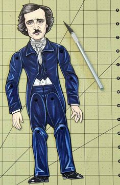 Edgar Allan Poe Articulated Paper Doll by ArdentlyCrafted on Etsy