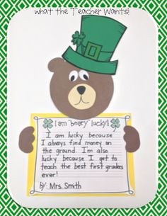 i'm beary lucky writing activity with bear and cute leprechaun hat