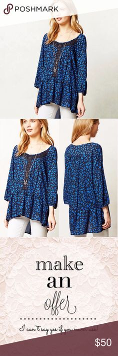 Anthropologie Ressica Tunic Leopard Print Blue $98 Anthropologie HD in Paris Ressica Tunic Leopard Print Blue Sz XS  Flowy, loose fit, and feminine with a drop waist and pretty lace detailing.  * Pullover styling * Rayon * Machine wash Anthropologie Tops Tunics