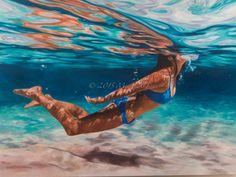 'Breathe' oil on canvas - art - painting copyright Mia laing 2015 Love Art, All Art, Tableaux D'inspiration, Underwater Painting, Hyper Realistic Paintings, Tropical Art, Australian Artists, Beach Art, Figure Painting