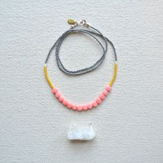 $40 Enamoured Necklace- Pink Coral with Faceted Grey and Dirty Yellow Palette