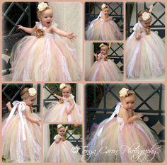 Tutu Dress, Flower Girl Dress Beige Mauve Antique Style 12 month to 2 Toddler. $58.00, via Etsy.