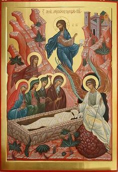 Myrrhbearers at the Tomb Byzantine Icons, Byzantine Art, Religious Icons, Religious Art, Greek Icons, Christ Is Risen, Jesus Christ, St Clare's, Sign Of The Cross
