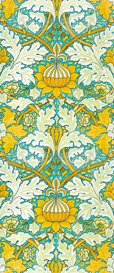 Yellow in design. pattern (WIILIAM MORRIS DESIGN The 3 main colours in this design are yellow, blue and white, and since they are all really bright they make the design quite hard to follow. The yellow stands out the most