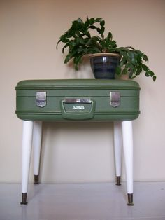 Upcycled Vintage Suitcase Side/End Table - Eco Earth Friendly - Avacado Green/White Retro