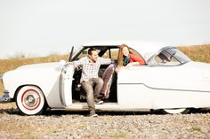 Vintage Car Engagement Engagement Pose Photos by POPography.org
