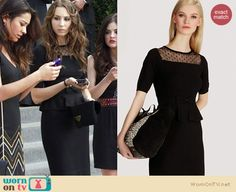 Spencer's black peplum dress with polka dots at the funeral on Pretty Little Liars.  Outfit details: http://wornontv.net/15612/