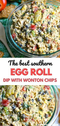 Southwestern egg roll dip is a creamy appetizer that can be thrown together on a whim. Paired with crispy, fried wonton chips it tastes just like a deconstructed Southwestern egg roll. It's full of meat and vegetables, making it a perfect dippable option for a snack, lunch, or even a light dinner. #dip #appetizer #recipe
