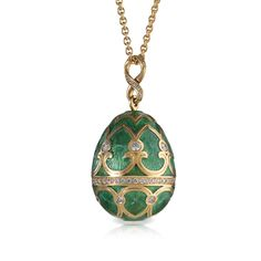 Modern Fabergé Oeuf Tsarskoye Selo Vert Viridian egg pendant with gold, diamonds and dark green enamel