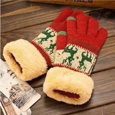 Оптовая продажа рождество олень модель толщиной зима женская вязать перчатки с