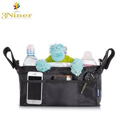 3Niner Stroller Organizer Bag, Universal Fit, Extra Storage for all Essentials Baby and Parent Needs, Free Gift Portable Diaper Changing Pad, with Removable Shoulder Strap. Black * Details can be found by clicking on the image.