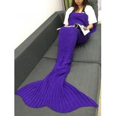 Super Soft Plaid Knitted Sleeping Bag Mermaid Taid Blanket - Blue Violet