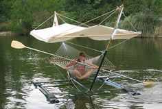 Hammock Boat Concept: Though it was sighted in this invention is still genius, so very now, and according to our own research ; This hammock boat concept was spotted at the University of California at Davis. Outdoor Fun, Outdoor Camping, Outdoor Decor, Kayak Camping, Camping Outdoors, Outdoor Areas, Backpacking Hammock, Camping Stuff, Kayak Fishing