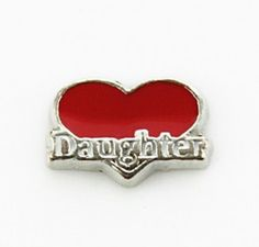 DAUGHTER on a Red Heart Floating Locket Charm at www.showyourcharm.com Include this charm when putting together a floating memory locket collection for your daughter. Add more charms that will bring back special memories or create a new memory.