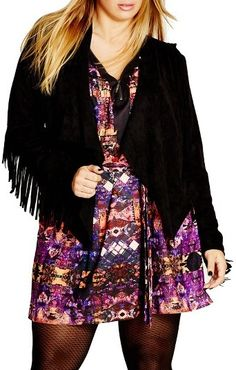 Plus Size Women's City Chic Faux Suede Fringe Jacket