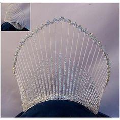 Rhinestone Miss Beauty Queen Pageant Crown Tiara Glitz Pageant, Pageant Crowns, Tiaras And Crowns, Rhinestone Wedding, Rhinestone Jewelry, Silver Necklaces, Silver Earrings, Ivory Wedding, Crystal Jewelry