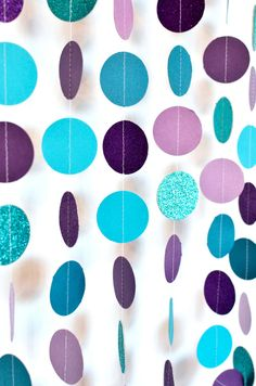 Aqua and Purple 10ft, Paper Garland, Birthday Party Decor, Wedding Decor, Shower Decor, Nursery